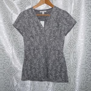 NWT Banana Republic silver gray cotton lace top 2